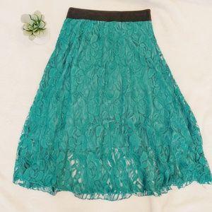Lularoe Lace Lola Midi Length Skirt Green XS